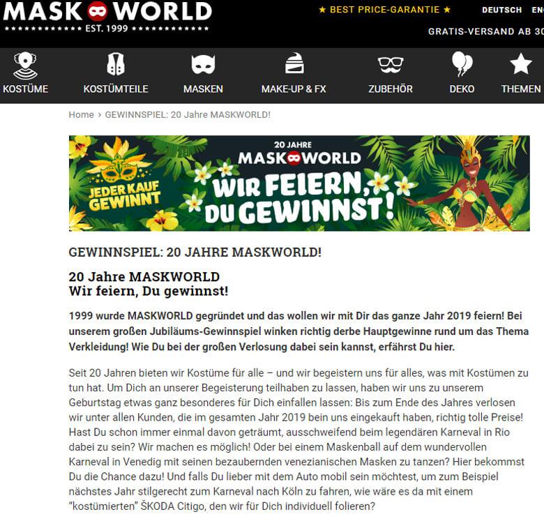 Mask World Gewinnspiel Skoda