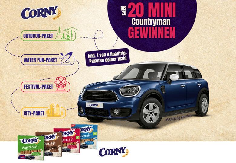 Corny Gewinnspiel MINI Countryman + Roadtrip Paket gewinnen